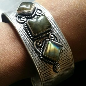 Jewelry - Labradorite cuff bangle Bracelet Sterling Silver